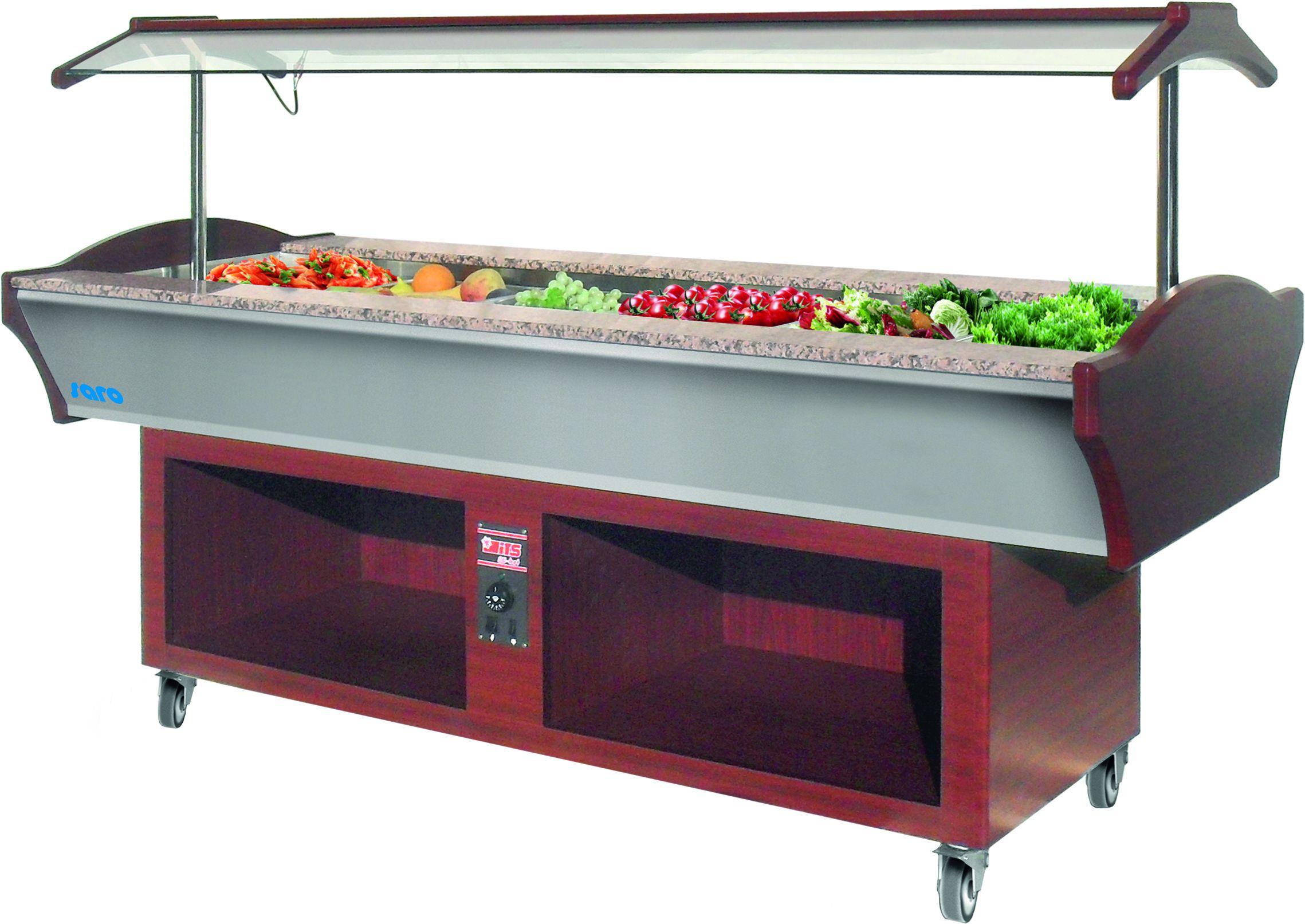 Heated Buffet Display Counter AMINA 6 Mahogany | Saro